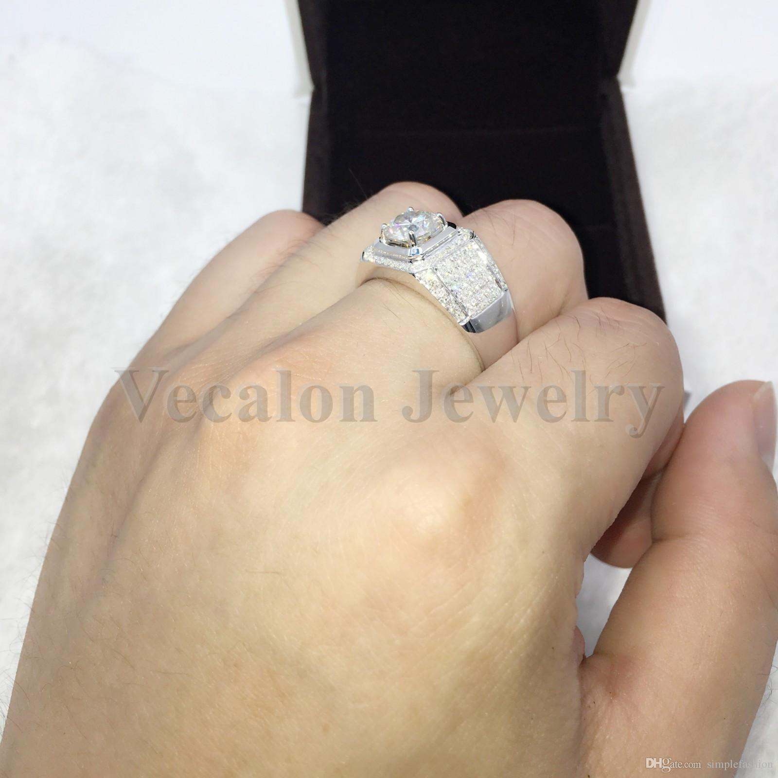 Vecalon Brand Jewelry Handmade wedding Band ring for Men 3ct 5A Zircon cz 925 Sterling Silver male Engagement Finger ring Gift
