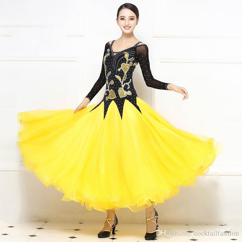 27901c479 2019 Standard Ballroom Dance Dress Women 2017 New Style Yellow Competition  Dancing Costume Adult Waltz Ballroom Dance Dresses From Cocktailfashion, ...