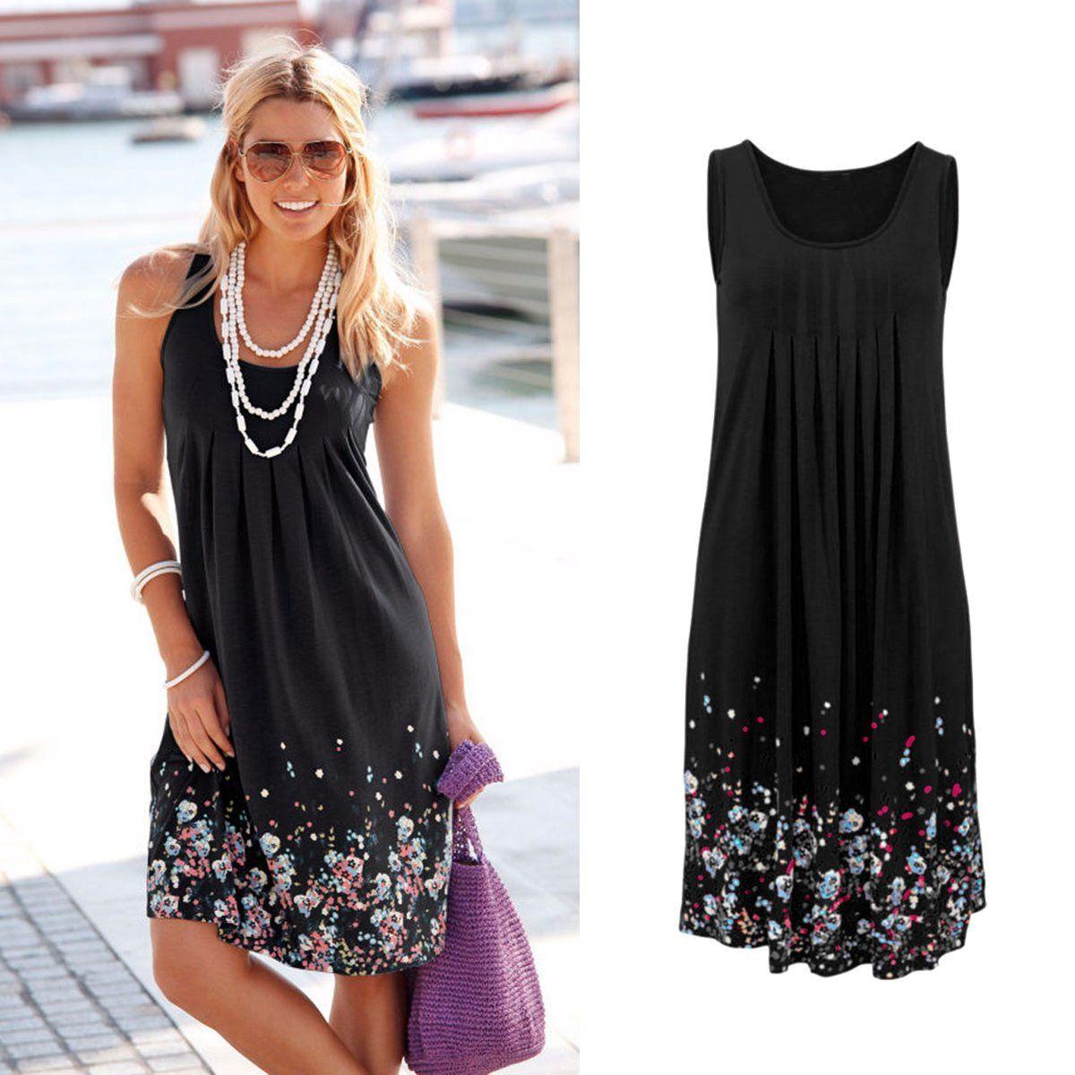 2019 Avrupa ilkbahar yaz yeni ürünler rahat gevşek yuvarlak boyun kolsuz baskı yüksek bel elbise. Destek karışık toplu