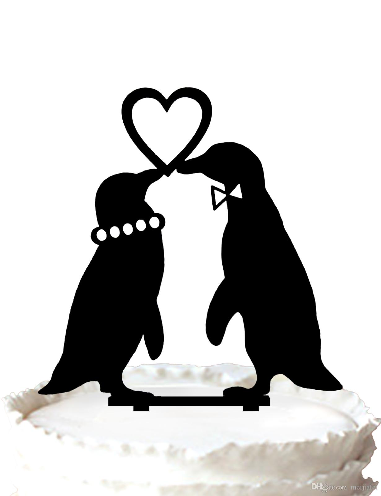 2018 penguins in love wedding cake topper silhouette love heart cake