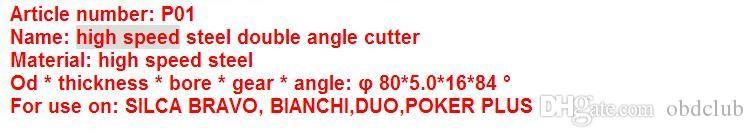 Original Raise High speed steel double angle cutter-P01 milling cutter for SILCA key cutting machine BRAVO,BIANCHI locksmith