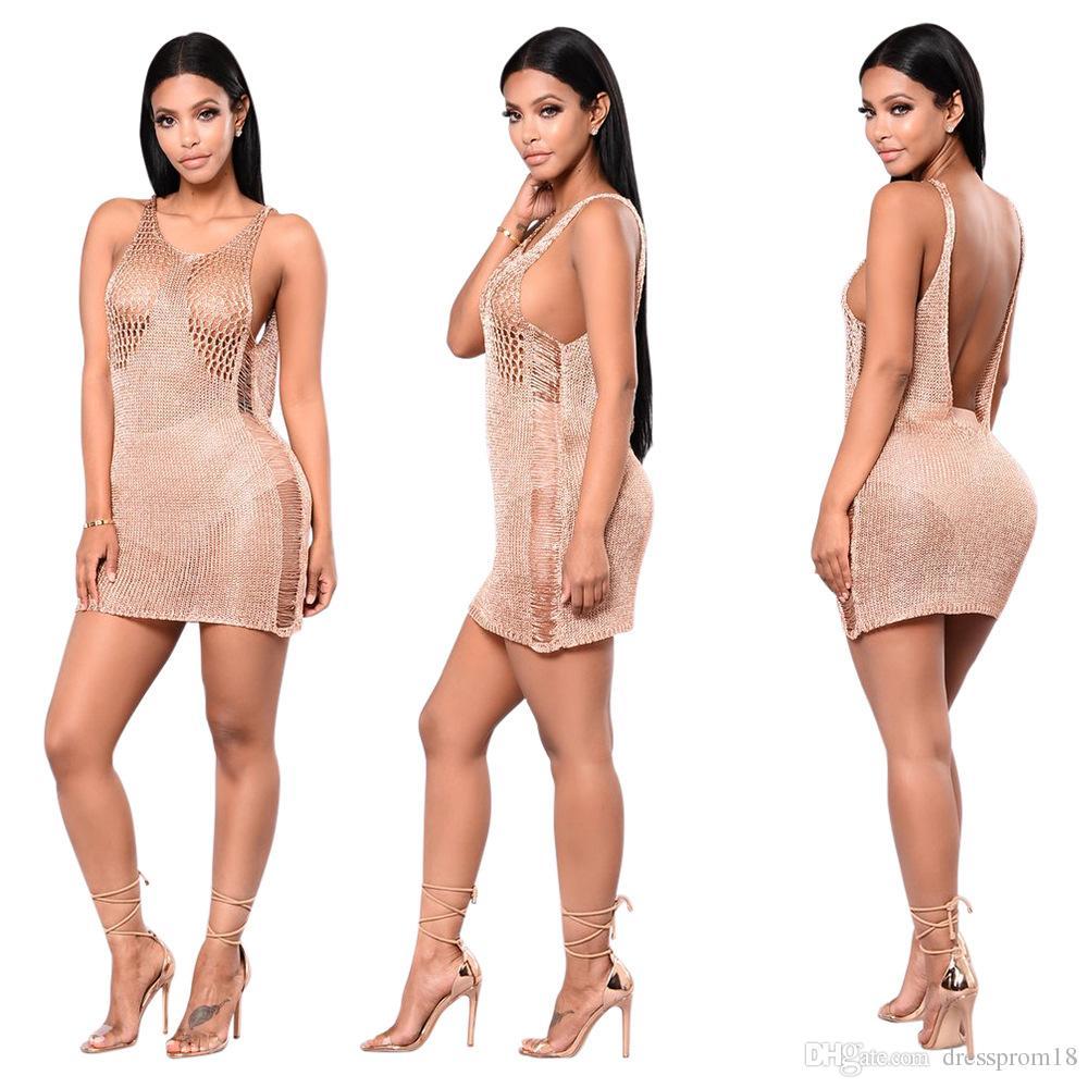 Großhandel 2017 Sexy Low V Zurück Illusion Büste Club Party Kleid ...