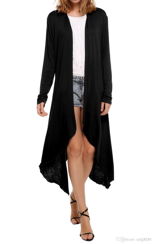 2018 Women'S Long Blouses Solid Long Black Kimono Cardigan For ...