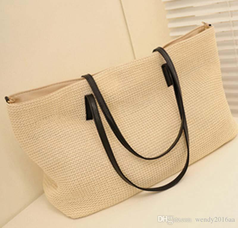 2017 New High quantity PP Straw Totes Bags Women Big Capacity Straw Beach Bags summer 38cm*27cm