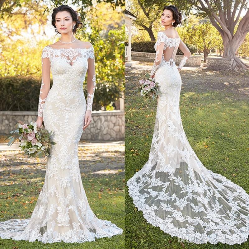 d60431e06889 Modest Kitty Chen Mermaid Wedding Dresses Long Sleeve 2018 Full Lace  Applique Bridal Gowns Off The Shoulder Court Train Wedding Dress White  Wedding Dresses ...