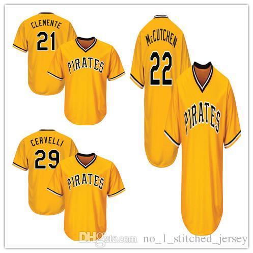 daa81841e ... Cool Base Grey Cooperstown Jersey 2017 MenS Pittsburgh Pirates 29  Francisco Cervelli 21 Roberto Clemente 22 Andrew Mccutchen Majestic Gold  Alternate ...