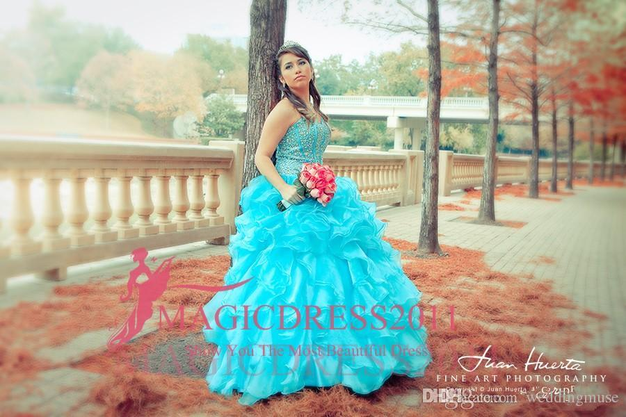 2018 Blue Quinceanera Dresses Floral Beaded Sweetheart Princess Ball Gown Sweet 16 Organza Pleated Princess Prom Dress Evening Gowns Cheap