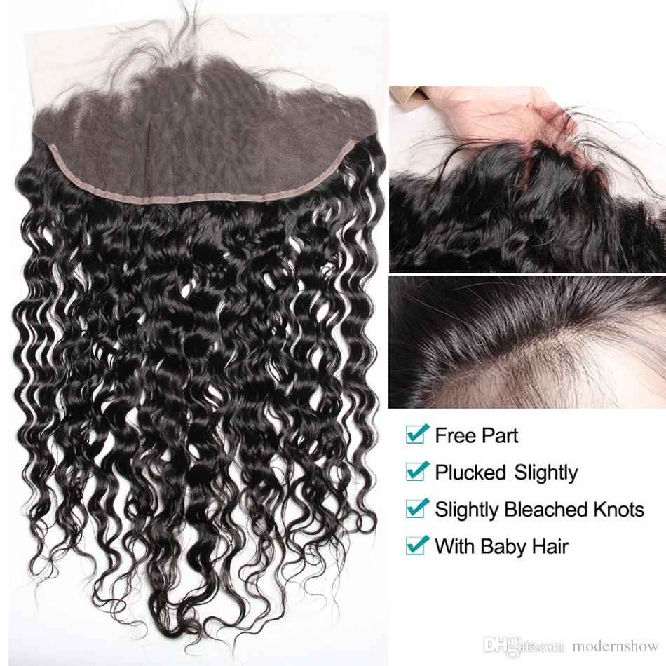 Modern Show Wet and Wavy Human Hair Brazilian Virgin Hair with Lace Frontal Water Wave Virgin Hair 4 Bundles with Frontal Closure