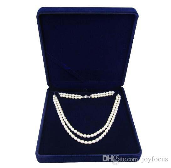 Velvet Jewelry Box Long Pearl Necklace Box Gift Box For Double Strings Sold Per Bag Of 2 Pcs