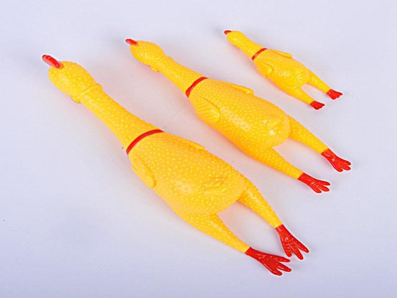 50 adet / grup Hızlı Kargo Sarı Mini Kauçuk Çığlık Tavuk Pet Köpek Aşk Oyuncak Squeak Squeaker Chew Hediye 3 Boyutları