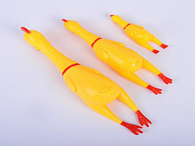 Fast Shipping Yellow Mini Rubber Screaming Chicken Pet Dog Love Toy Squeak Squeaker Chew Gift 3 Sizes