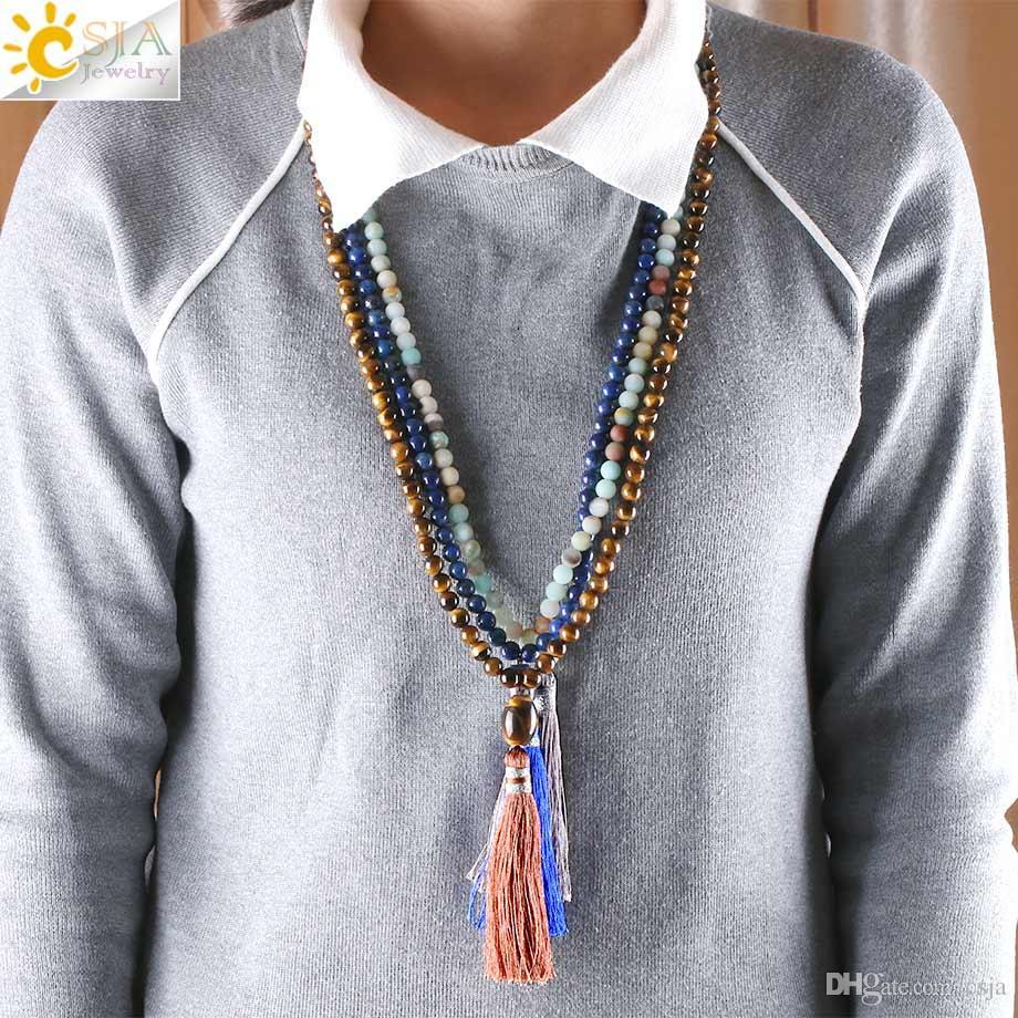 CSJA 88cm Long Natural Stone Beaded Tassel Pendant Necklace Aquamarine Tiger Eye Indian Agate Lava Rock Lapis Lazuli Women Men Jewelry E442
