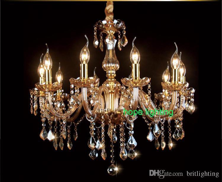 European style LED crystal pendant lamp glass bend pipe candle chandelier luxury restaurant living room Hotel bedroom bar crystal chandelier