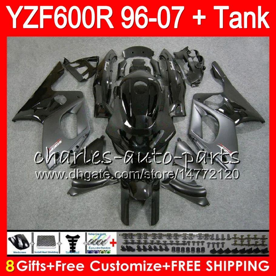 8Gifts для YAMAHA Thundercat YZF600R 02 03 04 05 06 07 55NO16 YZF 600R запас черный 96-07 YZF-600R 2002 2003 2004 2005 2006 2007 обтекатель комплект