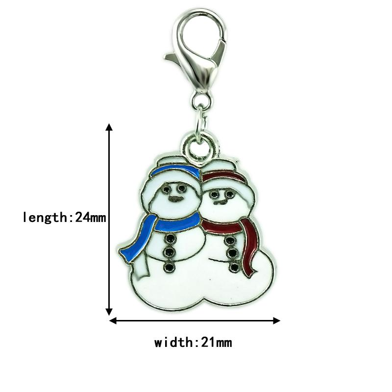 Christmas Classic Floating Lobster Clasp Charms Enamel Double Snowman Pendants DIY Charms For Jewelry Making Accessories