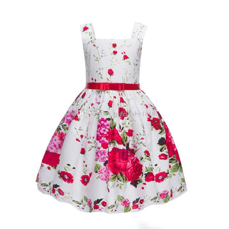 Girls Princess Dress New Floral Printed Children Party Dresses ... ae42156e54e0