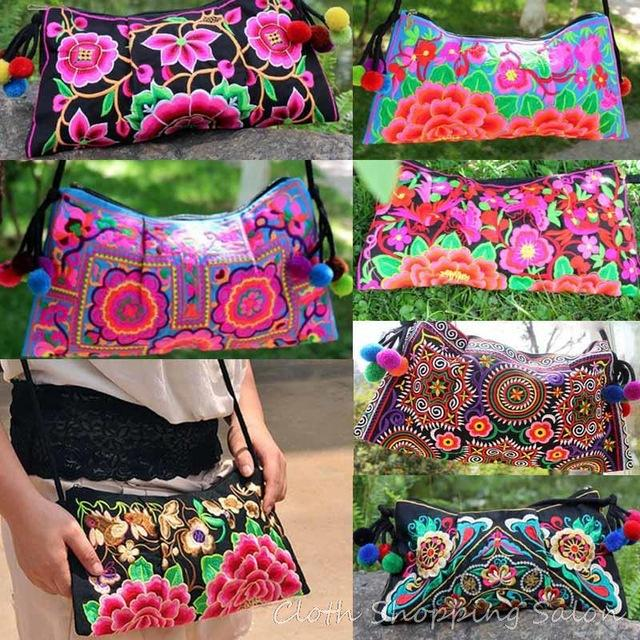 Compre Atacado Tailândia Pano Bordado Saco De Dupla Face Flor Étnica  Bordado Ombro Messenger Bag Mulheres Pequena Embreagem Bolsa De Beasy114 318cdebdf23