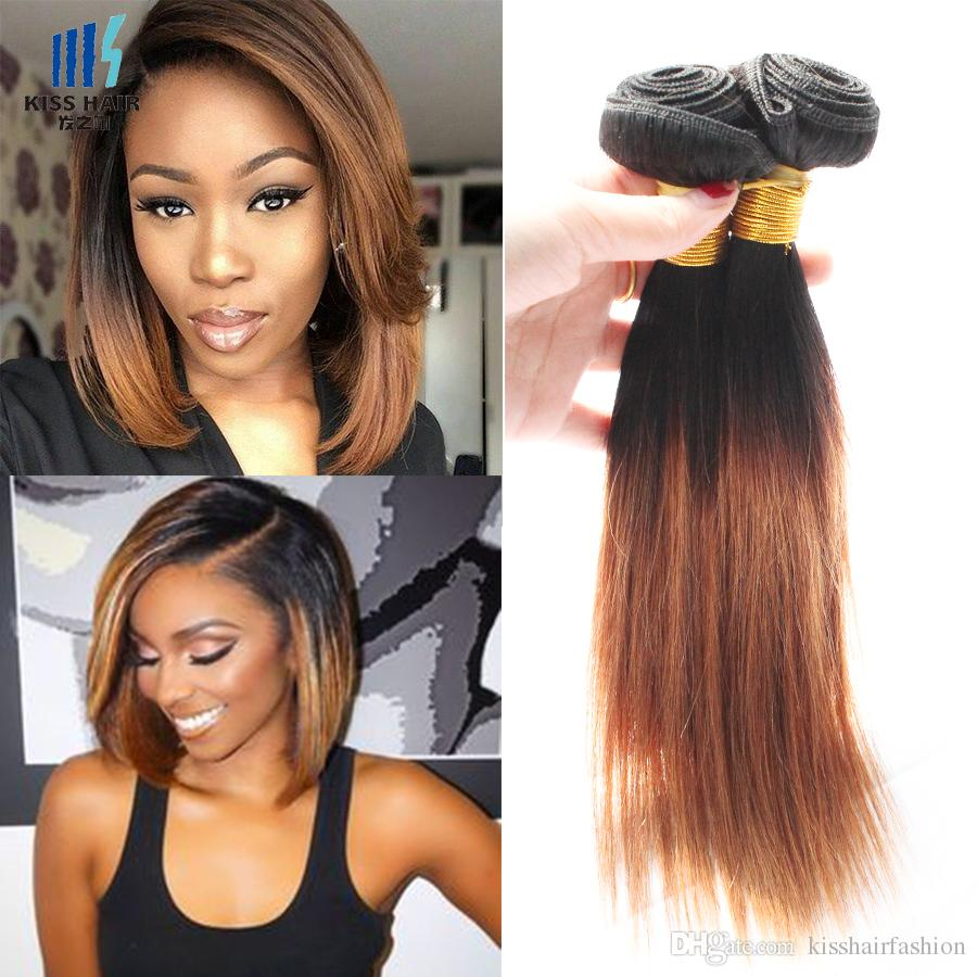 Colored Brazilian Hair Weave Bundles Silky Straight Dark Root T 1b