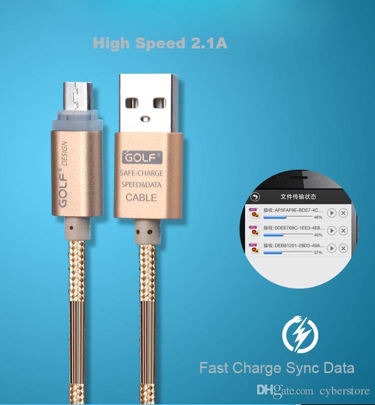 Orijinal Golf LED ışığı Metal USB Örgü Veri Şarj Kablosu Mikro Hızlı Android Telefon Samsung Şarj Cyberstore İçin Kordon Şarj