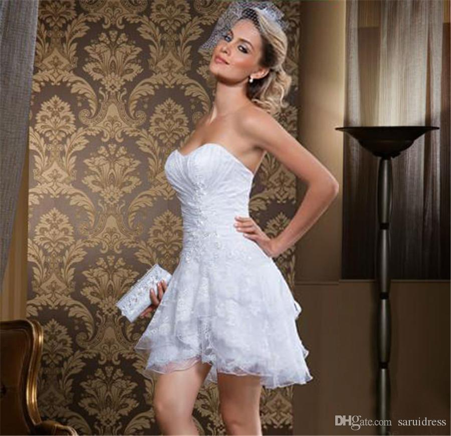 봄 Strapless Ruched 티어 짧은 신부 드레스 가운 분리형 스커트 빈티지 두 조각 레이스 웨딩 드레스 Vestidos Novia