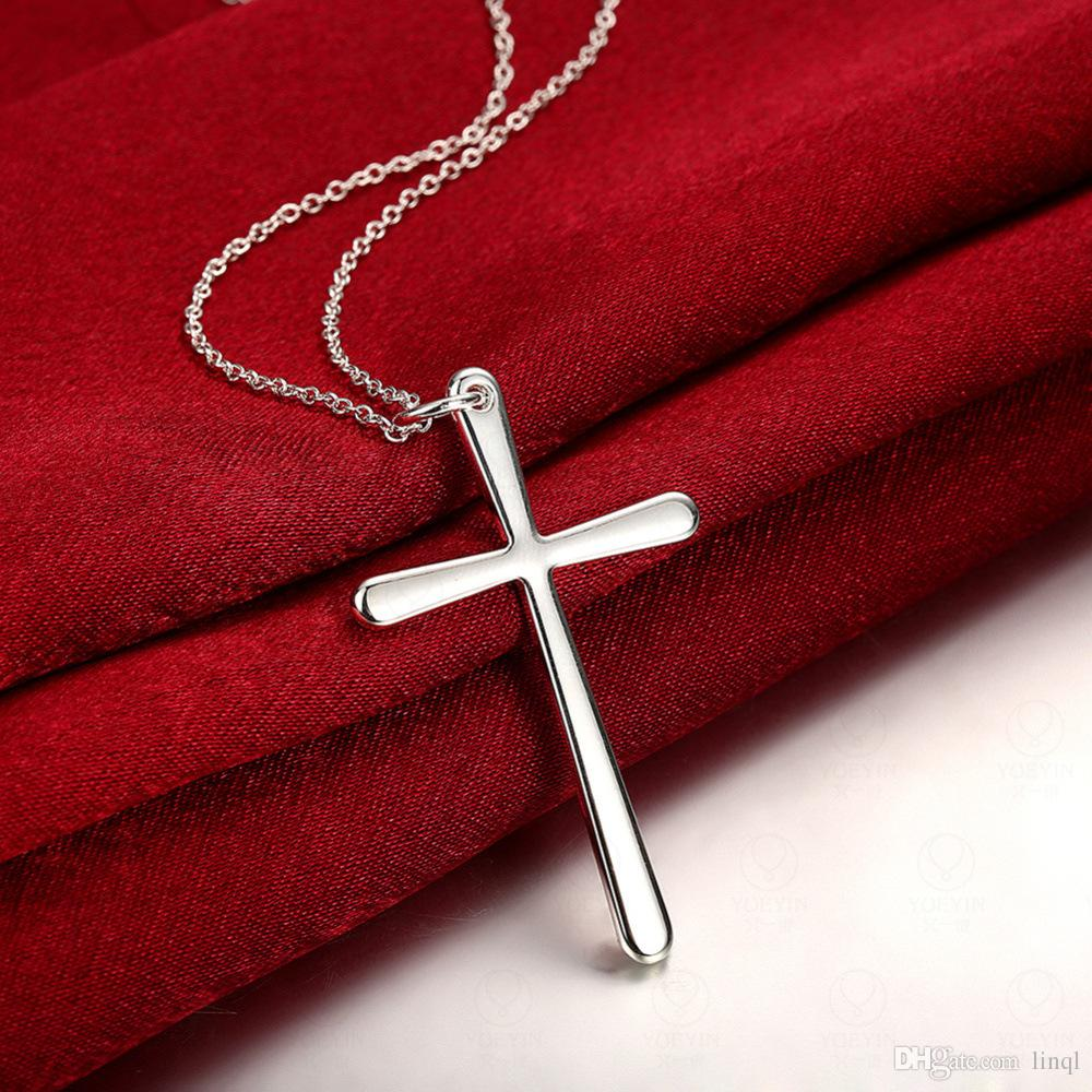 NEW cheap silver jewelry 925 Sterling Silver fashion charm cross pendant snake chain necklace KKA1064