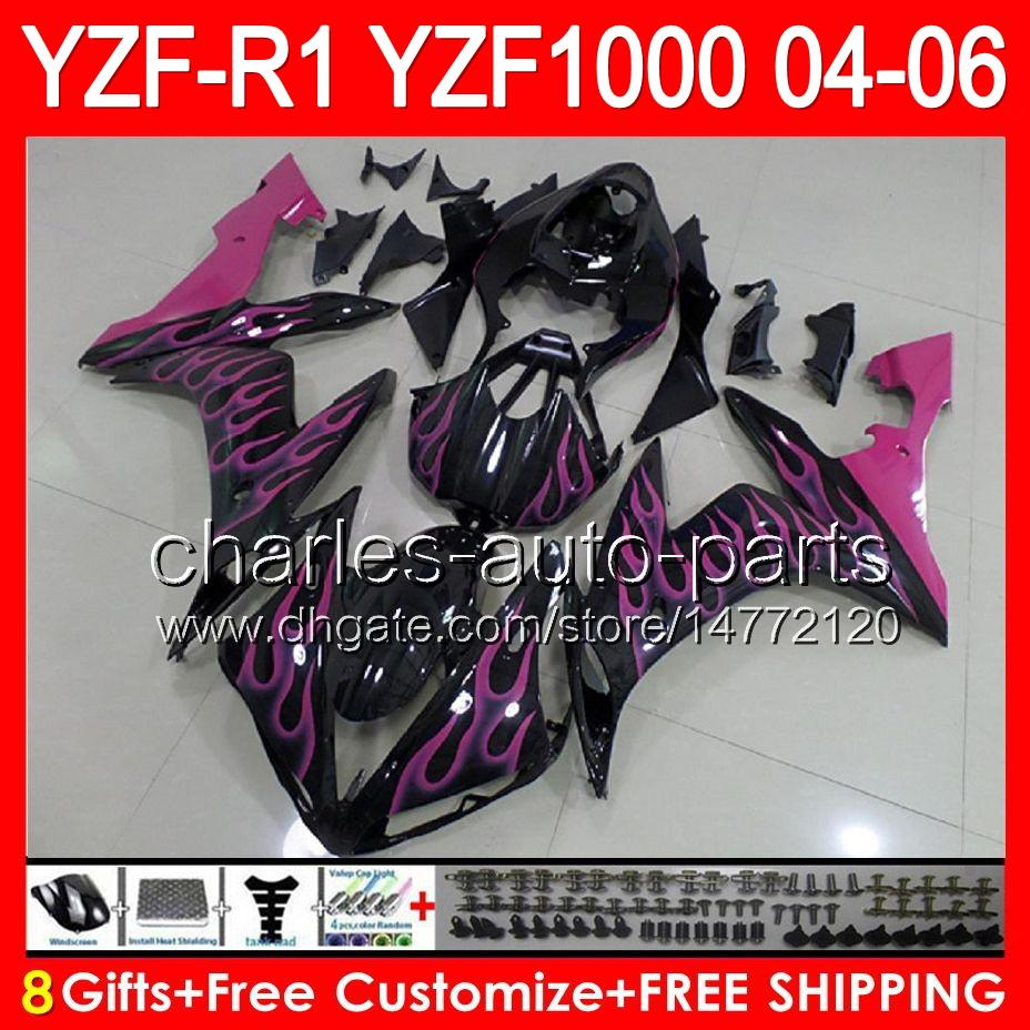 8gifts pink flames Body For YAMAHA YZF R1 04 05 06 YZF-R1 04-06 93NO57 YZF 1000 YZF R 1 YZF1000 YZFR1 2004 2005 2006 glossy black Fairing