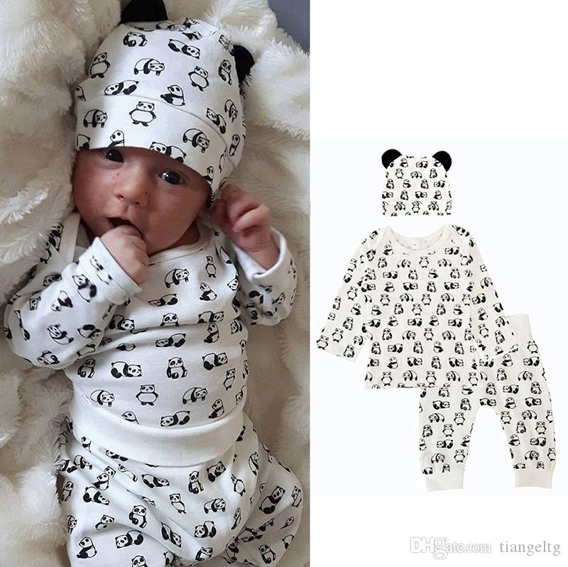 00062d25774 2019 Kids Clothing Sets Panda Winter Autumn Spring Casual Suits Shirts Pants  Hat Infant Outfits Kids Tops   Shorts 0 24M From Tiangeltg