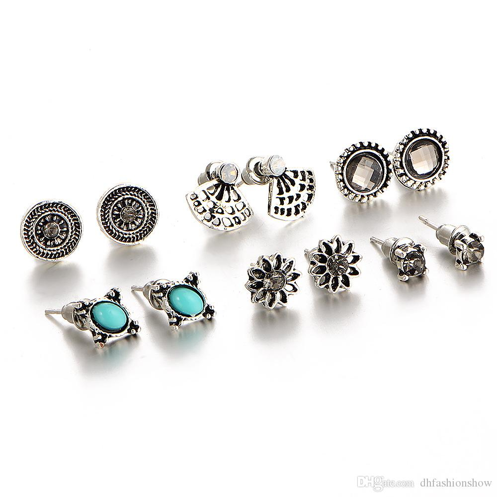 Hot-selling Cute Earring Sets Super Value Set Round Square Ball Alloy Crystal Stud Earrings For Women Best Friend Gifts