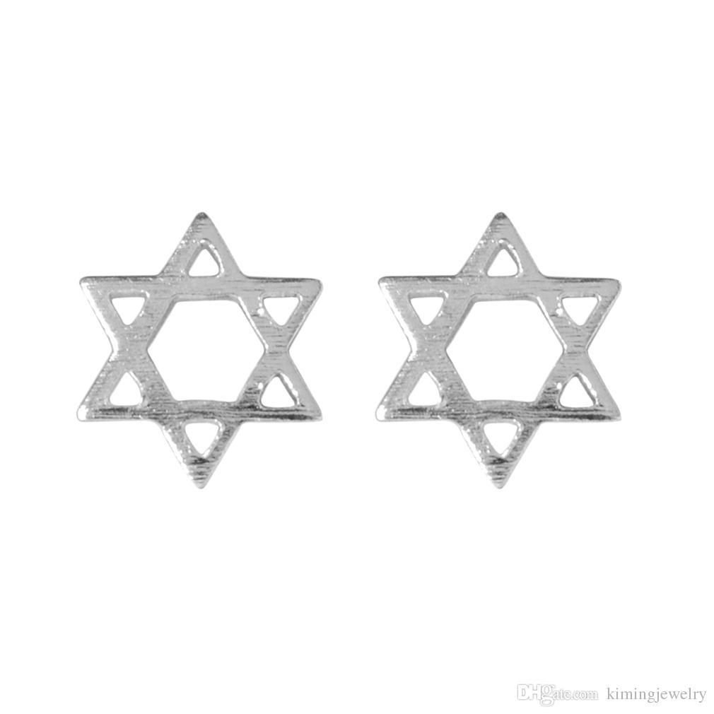 Hollow Wish Hexagram 925 Sterling Silver Stud Earrings for Women Vintage Jewelry Korean Bohemian Cute Love Minimalist