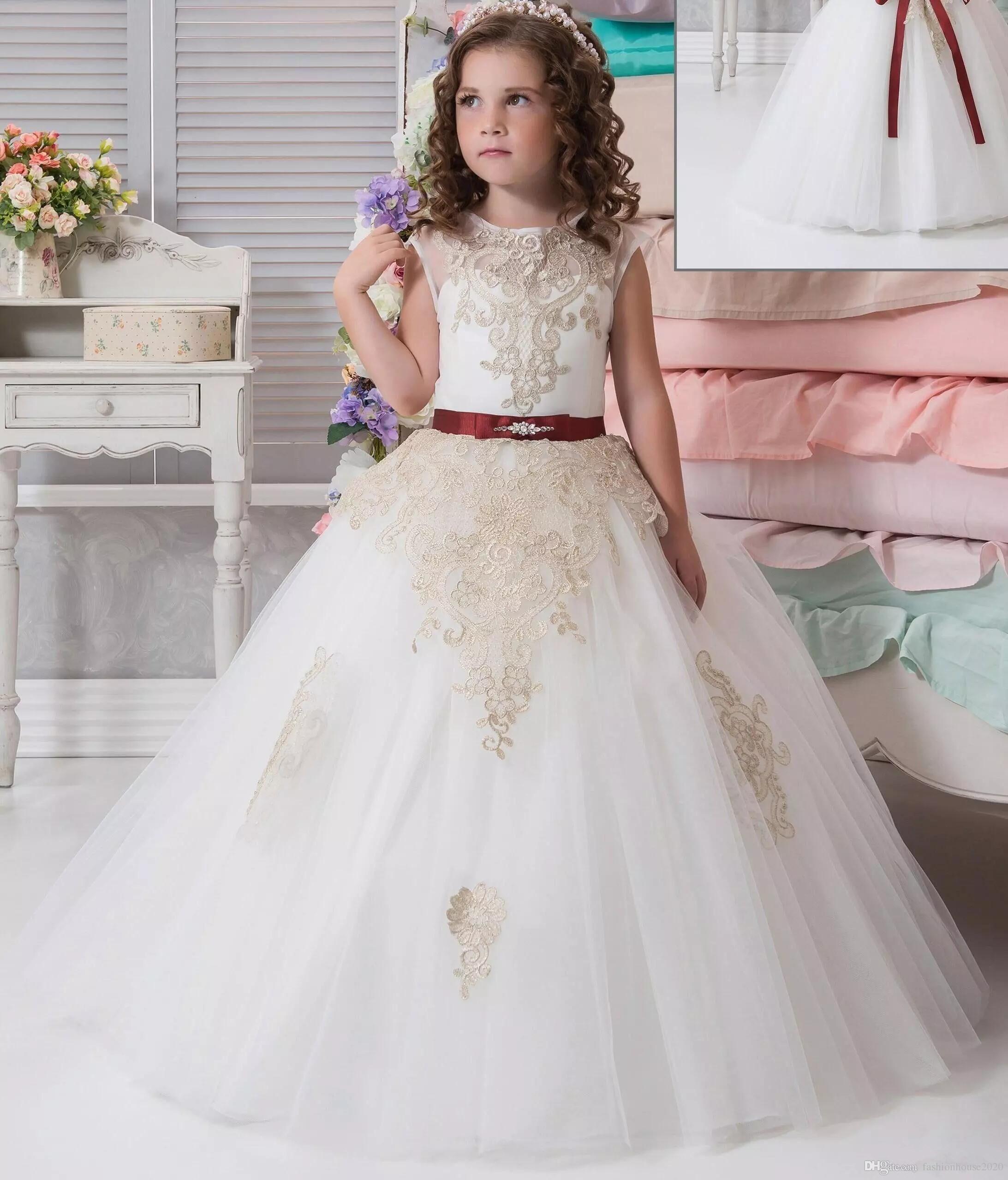 Großhandel Elegante Tüll Prinzessin Blume Mädchen Kleider Für ...