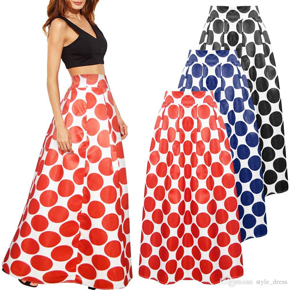 Compre Faldas A Del 11 Alta Línea Tutu Larga Mujeres Style dress Falda Lunares com De Señora Una Vintage Casual Dhgate Bohemian 21 Maxi Cintura HwOxHaq