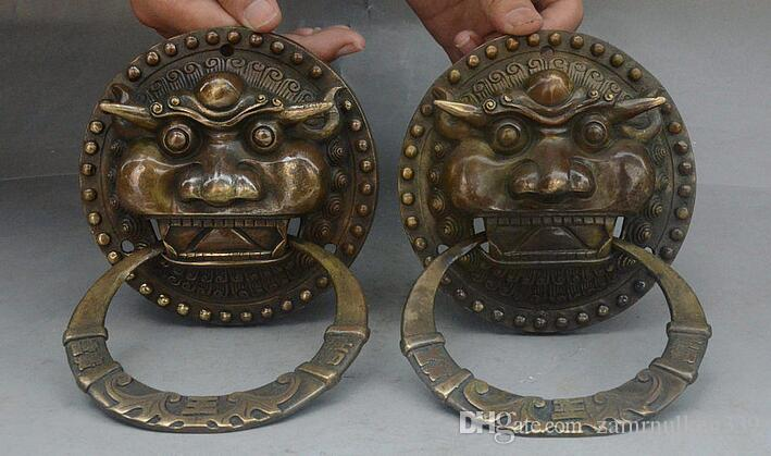 2018 Old China Fengshui Bronze Auspicious Beast Lion Head Statue Door  Knocker Pair From Zamrnulkeg339, $127.54 | Dhgate.Com