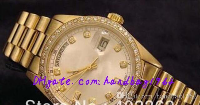 Горячие продажи низкие роскошные мужчины дата твердые 18K золотые часы мужчины спорт вечный Алмаз безель Спорт президент часы BOX высокое качество часы