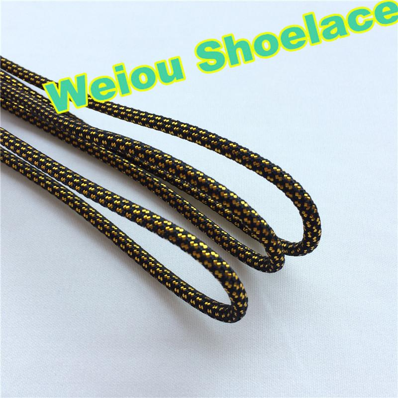Weiou hot sale fashionable Black gGld Luxury shoe laces Sports glitter shoe strings round novelty dress shoelaces for Martin Shoe 120cm