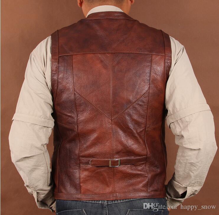 Giacca da canotta da uomo in pelle gilet da uomo originale Chris Pratt Jurassic World Vest. Tasche multiple