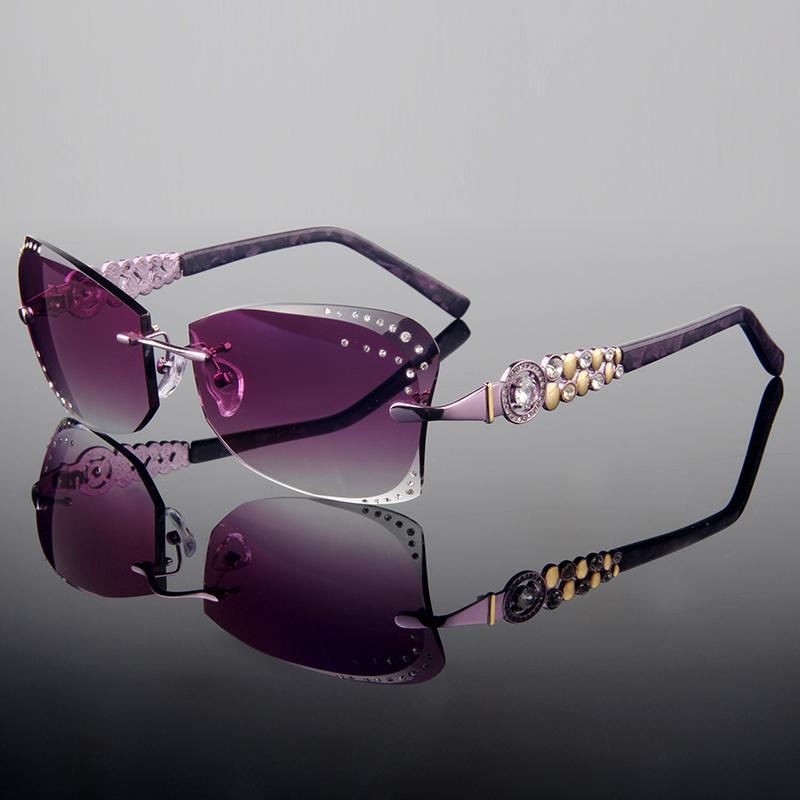 1090b98085cd Wholesale 2015 Summer Style Trimming Cut Rimless Fashion Women S Complete  Prescription Sunglasses With Rhinestones On Lens Purple Frame Eyeglasses ...