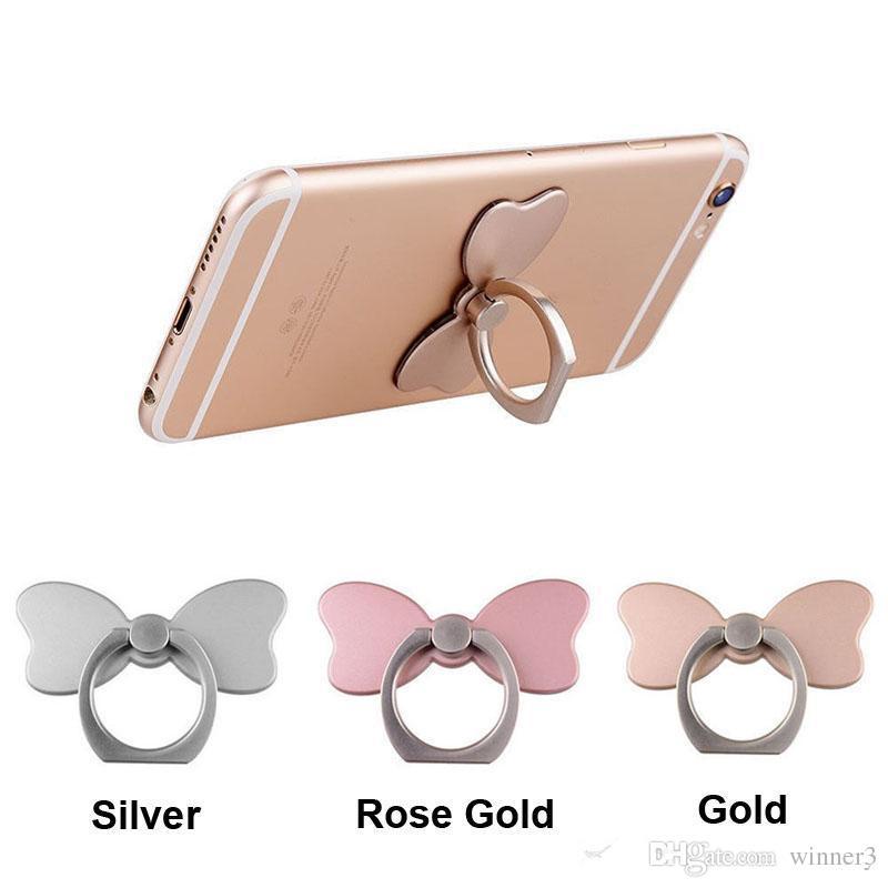 DHL Universel 360 Degrés Fleur Bowknot Lapin Doigt Anneau Titulaire Téléphone Stand Pour iPhone 7 6s Samsung Huawei Mobile Téléphones