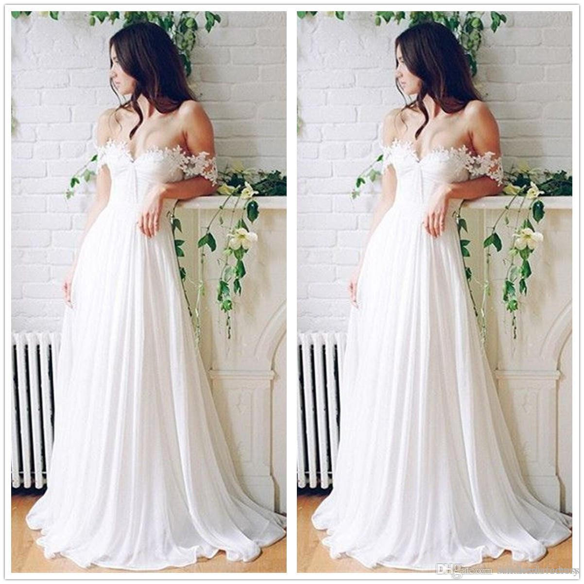 2017 spring summer boho wedding dresses off shoulder for Bohemian wedding dress shops