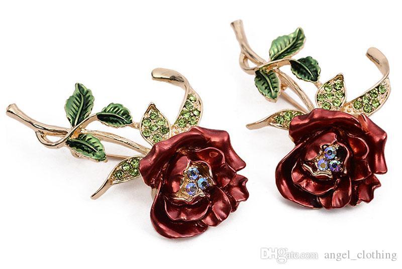 Jewelry Brooches Womens Belle Red White Purple Violet Rose Flower Enamel Crystal Rhinestone Brooch Pin Golden Tone