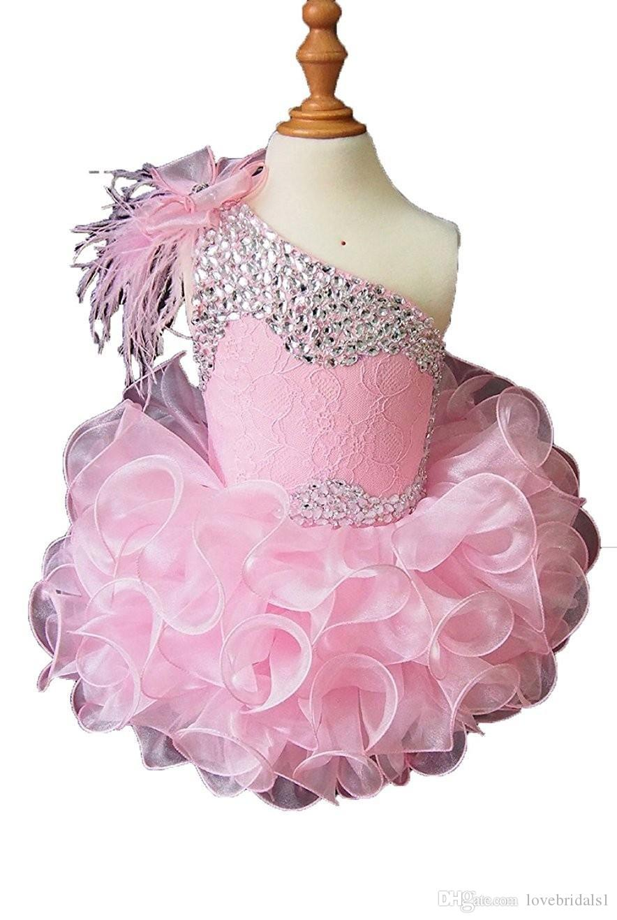 2019 cute one shoulder girls pageant dress ruffle beads lace organza back lace-up sequin prom birthday party dress for toddler