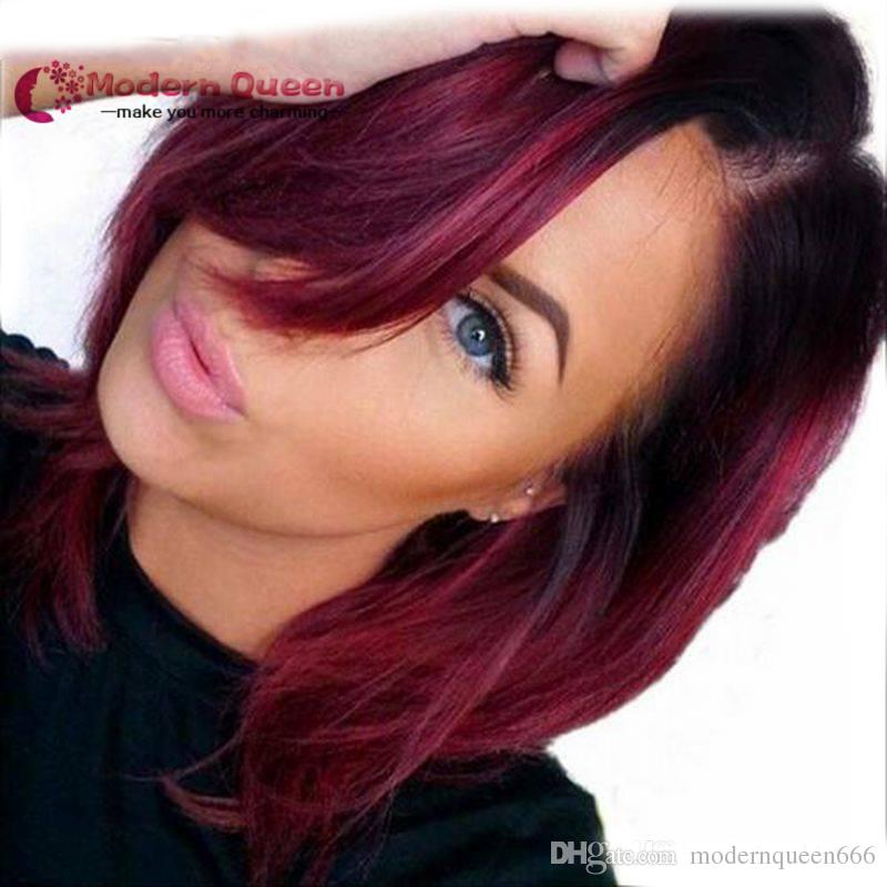 Synthetic Wigs For Black Women Red Wig Dark Roots Natural