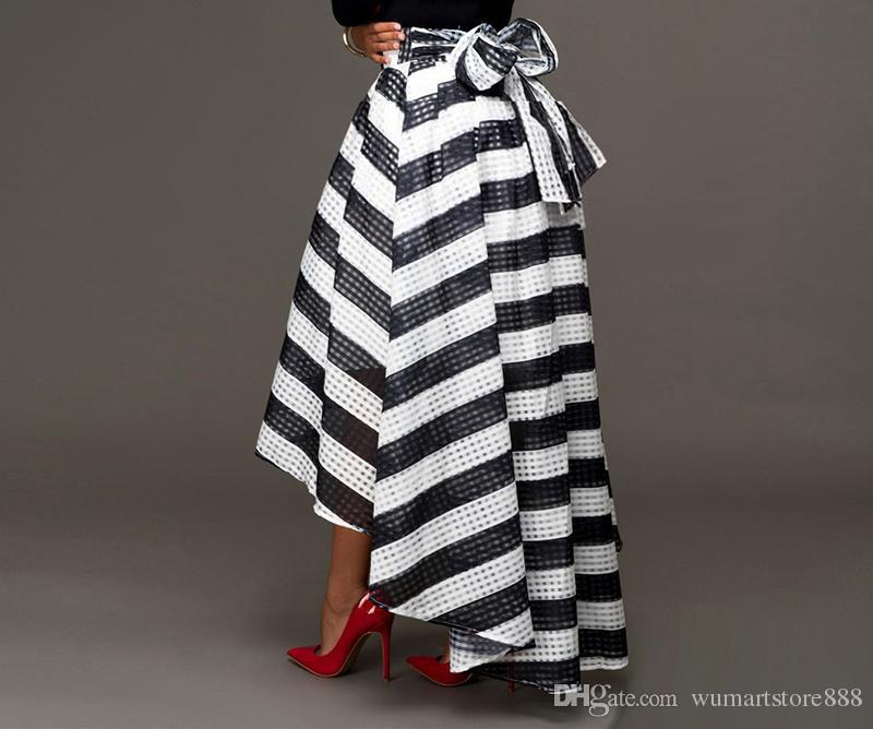 Tinderala Donna Abiti in bianco e nero Vestito alla caviglia Vestito a due pezzi Tinta unita a maniche lunghe T-shirt O a righe e gonna a righe