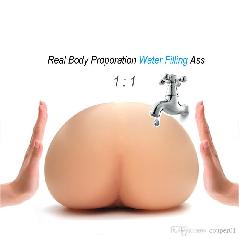 Iniezione di riempimento di acqua calda Silicone gonfiabile Realistico Figa reale temperatura corporea Masturbatore maschio Grande culo giocattolo del sesso gli uomini