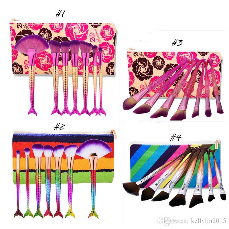 Mermaid Makeup Brushes Sets Powder Foundation Contour Eyeshadow Brush Cosmetics Multipurpose Rainbow Make up Kit di spazzole con borsa