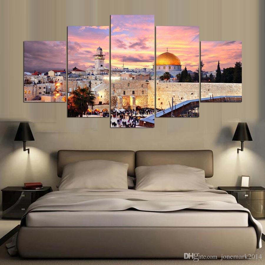 5 Panel Framed HD Printed Jerusalem Sunset Landscape Large Poster Canvas Oil Painting Wall Pictures For Living Room