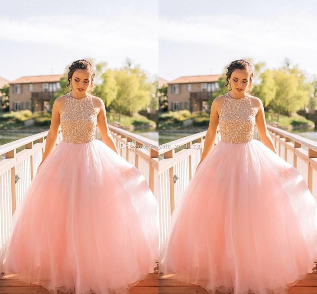 Pastel Pink Ball Gown Prom Dresses Beading Bodice Tulle Floor Length ...