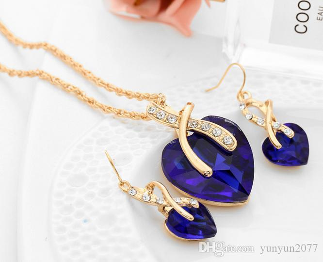 Luxury Bridal Accessories Jewelry Sets Wedding Crystal Hearts Pendant Chain Chokers Necklaces Charm Ear Rings Drop Dangle Earrings For Women