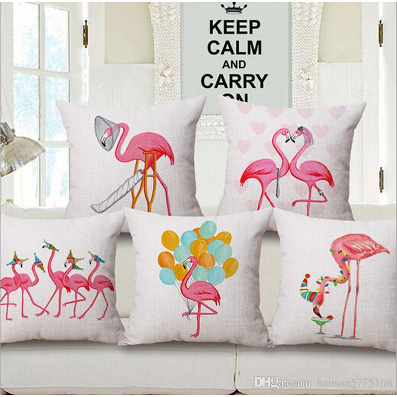 Christmas Flamingo Sofa Cushion Covers Manufacturers Linen Cotton Throw Pillow  Covers For Home Decor Party Decoration Baby Cushion Pillows Sofa Pillow  Case ...