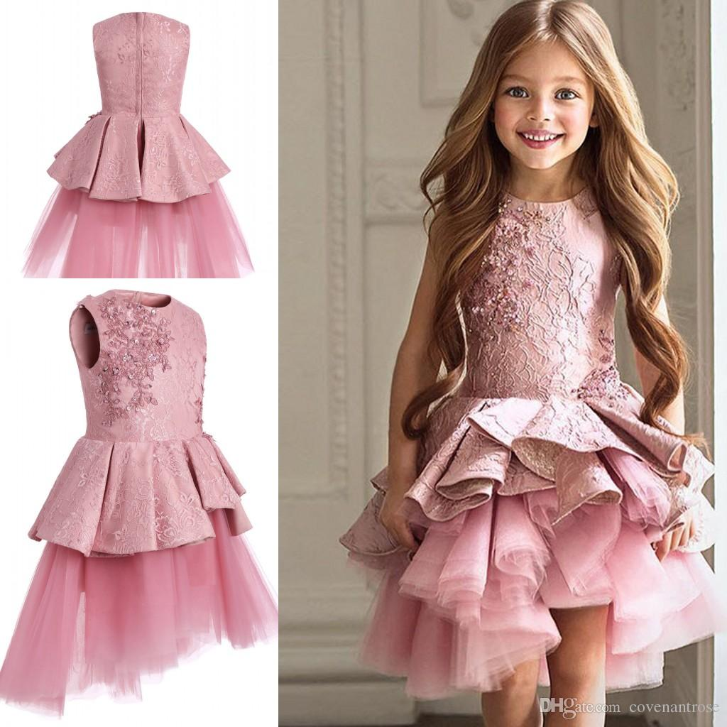 2017 Pretty Pink Lace Flower Girls Dresses Long Sleeves Communion