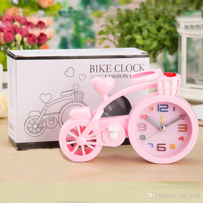 table clock , candy color thickening plastic alarm clock, creative bicycle alarm clock, student gifts, birthday crafts